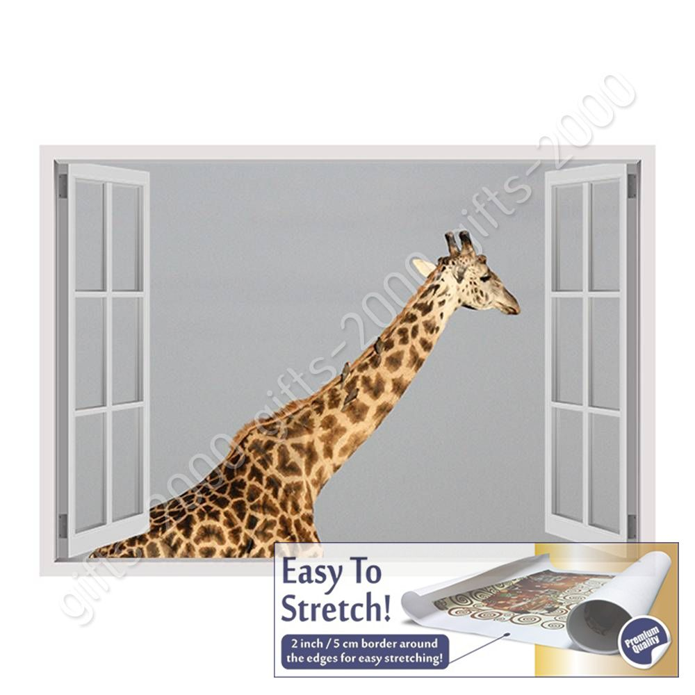 CANVAS (Rolled) Africas Giraffe Fake 3D Window Painting Canvas For ...