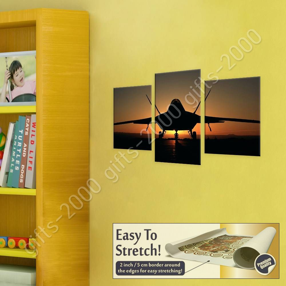 Jet Silhouette Sunset by Split 3 Panels | Canvas (Rolled) | 3 Panels ...