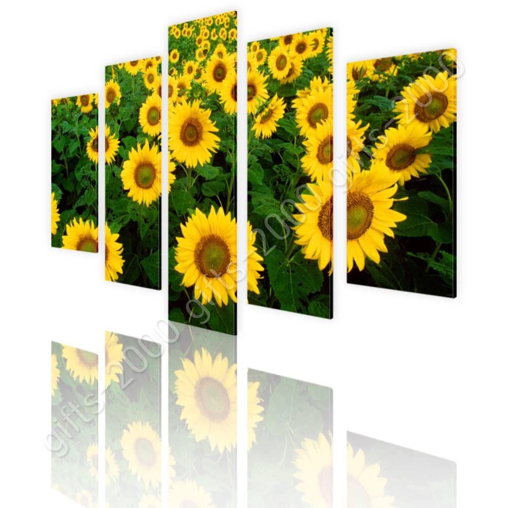 CANVAS (Rolled) Sunflower Field Split 5 Panels 5 Panels Painting Art ...