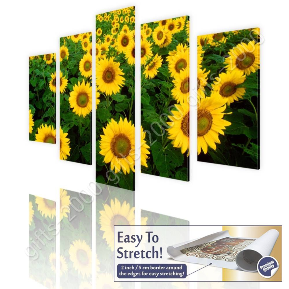 CANVAS (Rolled) Sunflower Field Split 5 Panels 5 Panels Painting Art ...