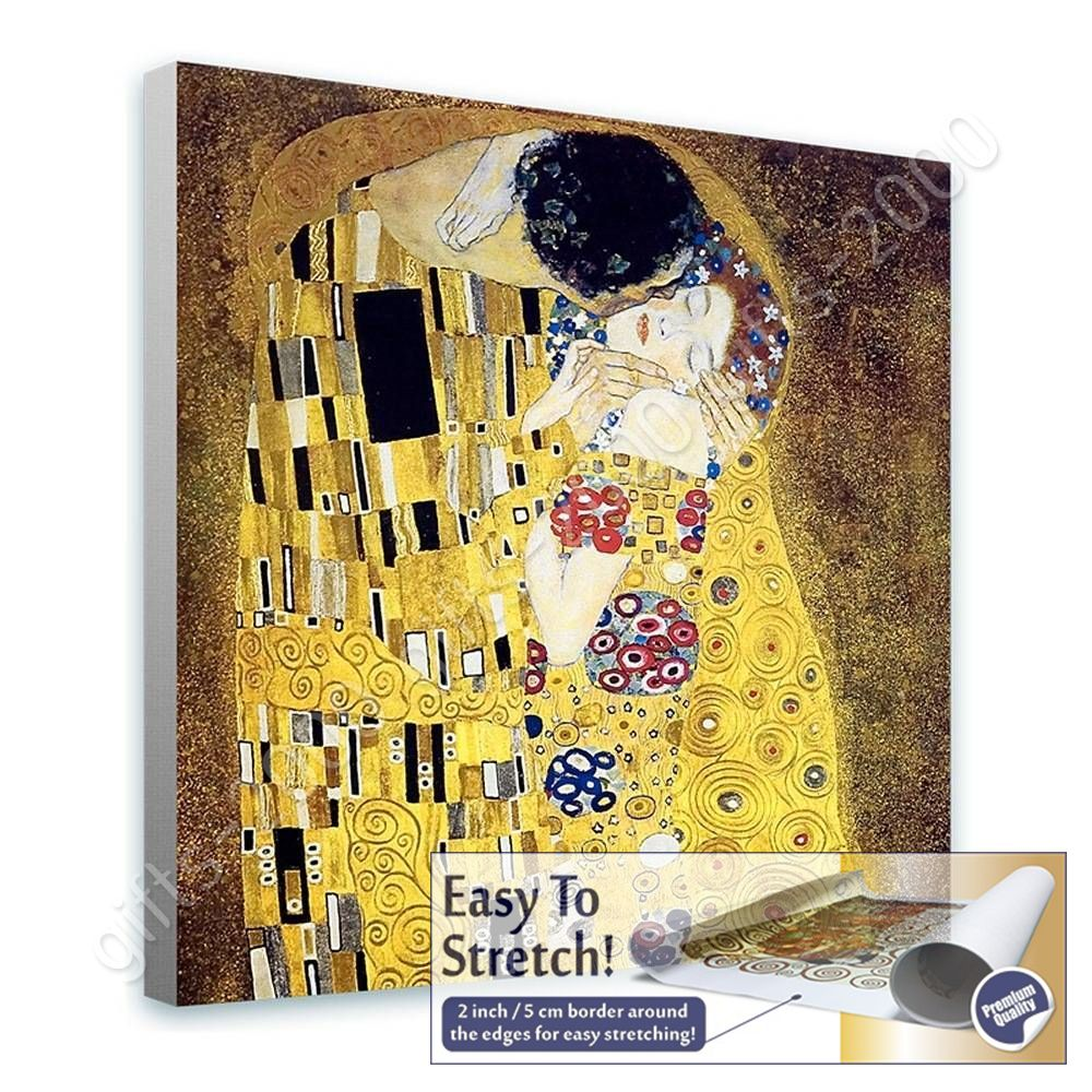 The Kiss By Gustav Klimt Canvas Rolled Wall Art Picture