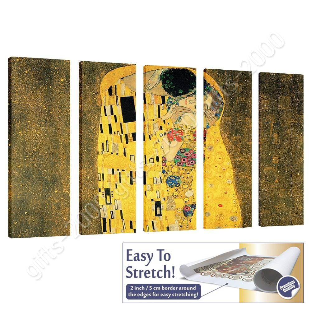 CANVAS (Rolled) The Kiss Gustav Klimt 5 Panels Wall Decor Paintings ...