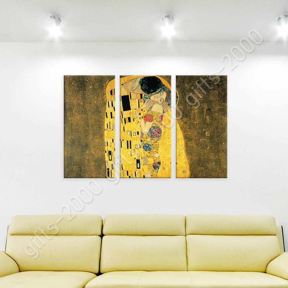 READY TO HANG CANVAS The Kiss Gustav Klimt 3 Panels Framed Artwork ...