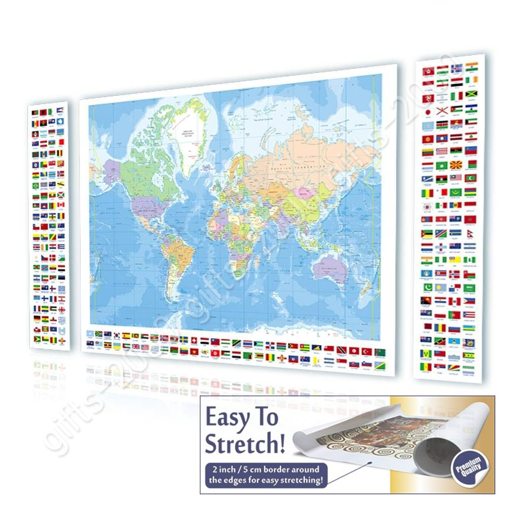 Canvas rolled political modern world map flags world map 3 panels canvas rolled political modern world map flags world gumiabroncs Gallery