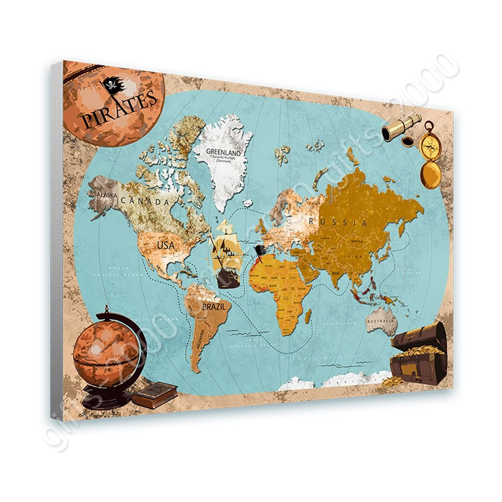 Ready to hang canvas pirates old vintage world map framed art for ready to hang canvas pirates old vintage world map framed art for bedroom gumiabroncs Images