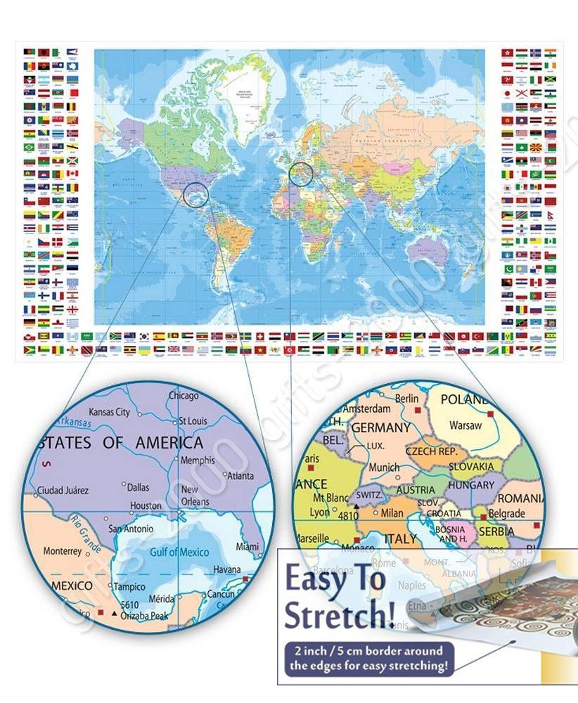 Political Modern Maps #1 by World MapCanvas Wall art artwork Rolled
