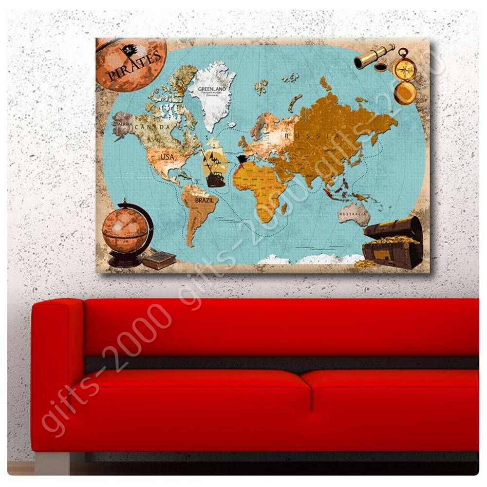 Ready to hang canvas pirates old vintage world map frame oil ready to hang canvas pirates old vintage world map frame oil painting print gumiabroncs Choice Image