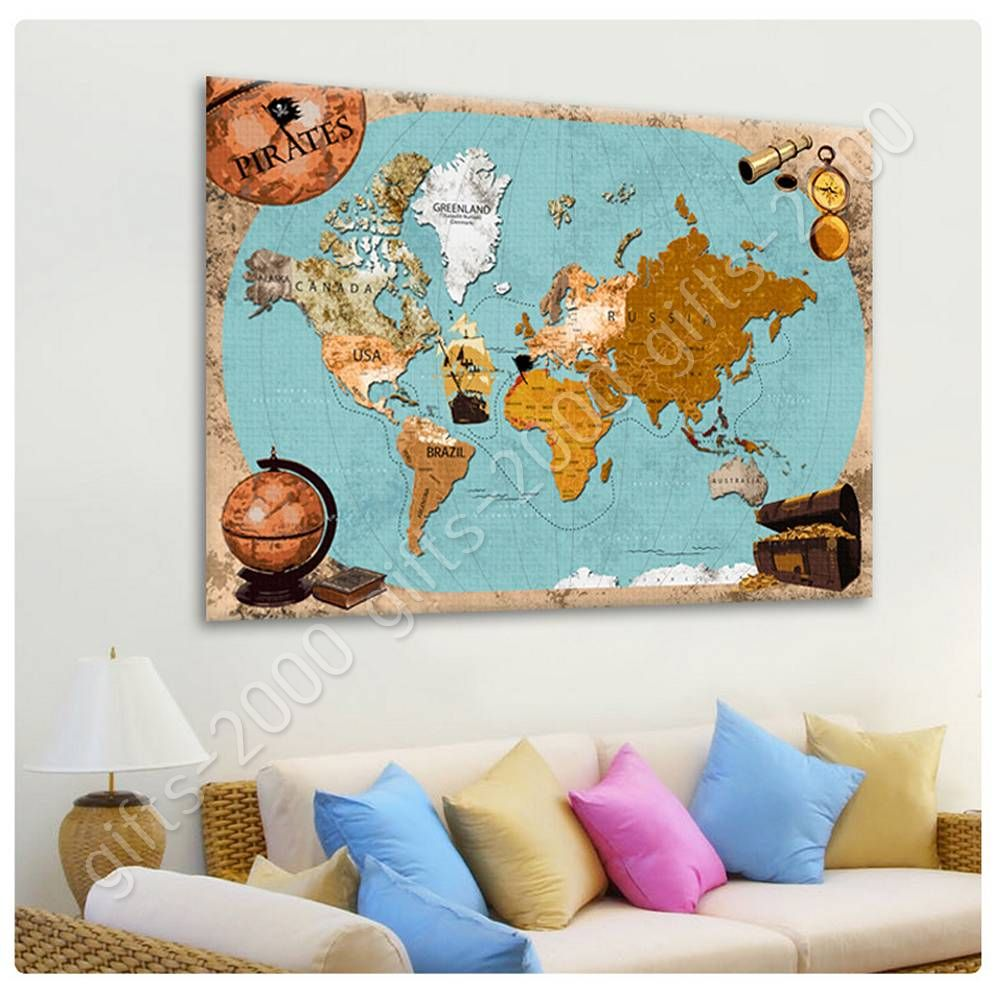 READY TO HANG CANVAS Pirates Old Vintage World Map Frame Oil - Old world map wall art in blue