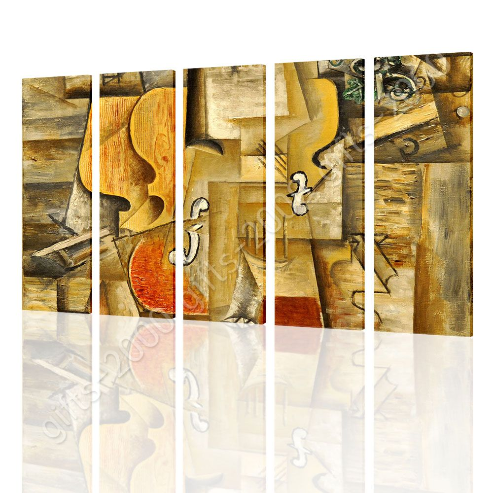 CANVAS (Rolled) Violin And Grapes Pablo Picasso 5 Panels Wall Decor ...