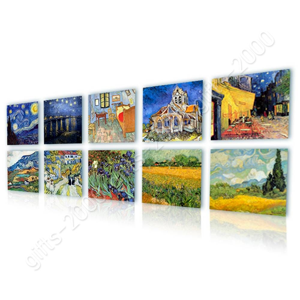 CANVAS (Rolled) Irises Cafe Starry Night Bedroom Vincent Van Gogh Set Of 10