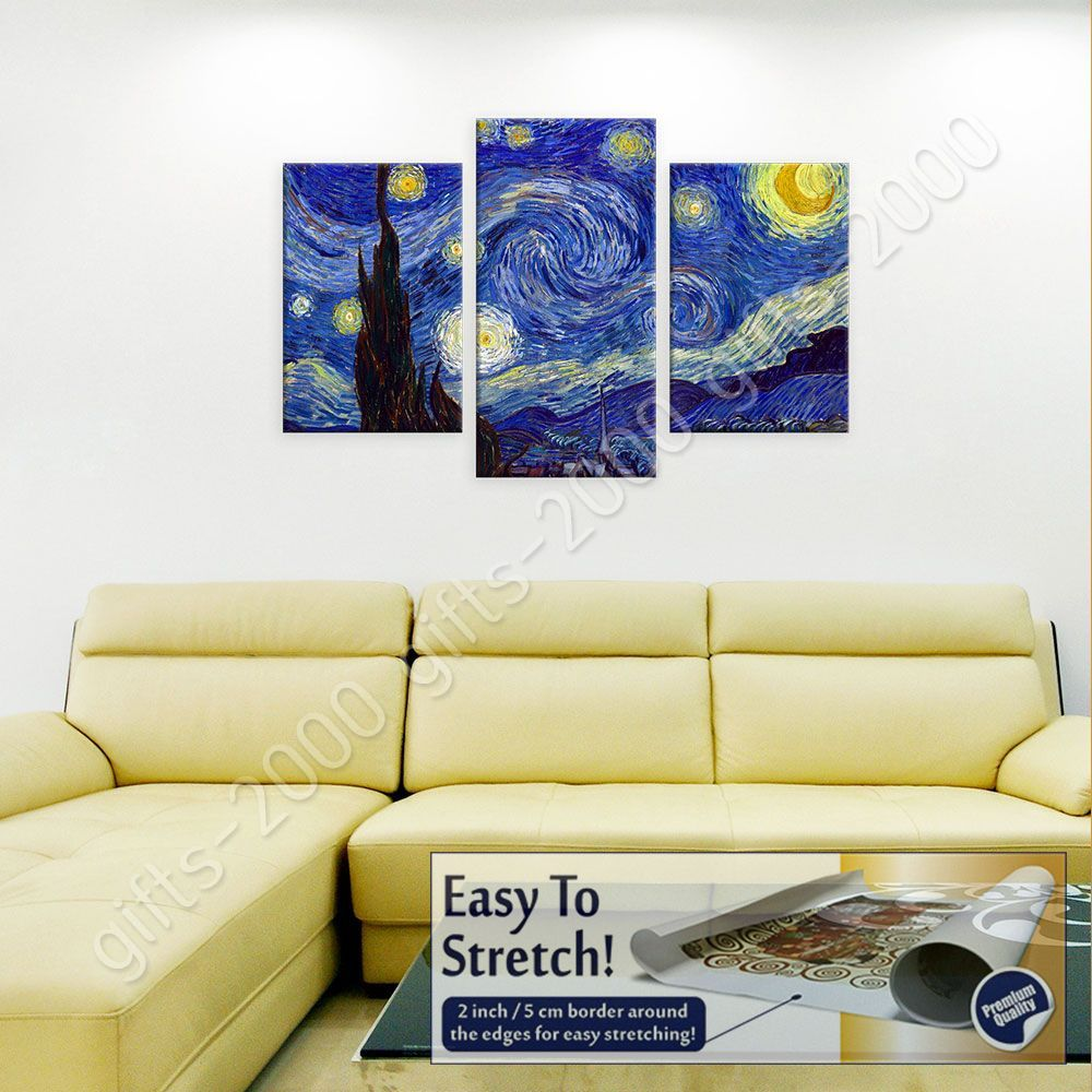 CANVAS (Rolled) Starry Night Vincent Van Gogh 3 Panels Wall Art ...