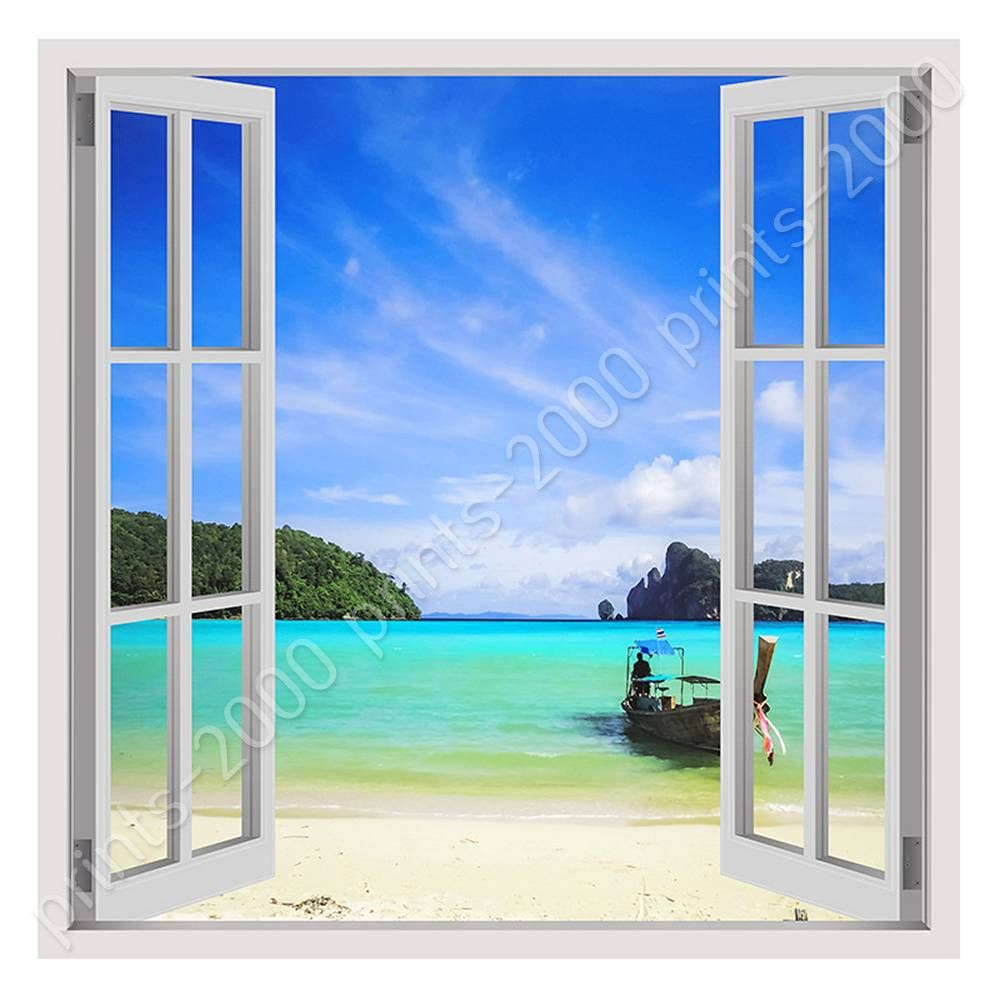 Poster or sticker decals vinyl caribbean beach fake 3d for Vinyl windows online