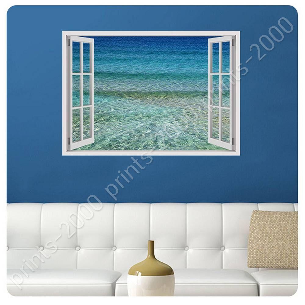 Poster or sticker decals vinyl aqua fake 3d window posters for Buy vinyl windows online
