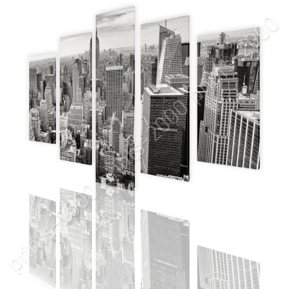 READY TO HANG CANVAS New York City Manhattan Split 5 Panels 5 Panels ...