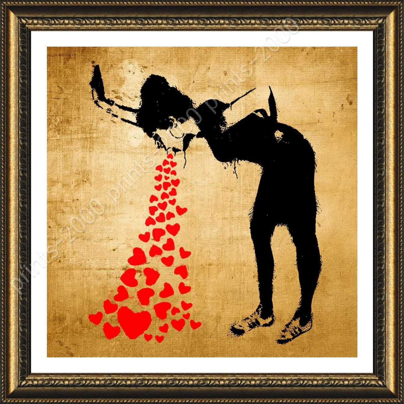 FRAMED Poster Lovesick Banksy Wall Art Pictures For Living Room ...