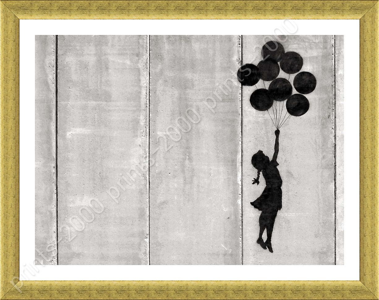 Girl With Balloon Flying West Bank by Banksy | Framed canvas ...