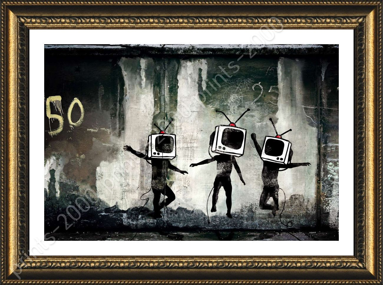Póster enmarcado TV cabezas Banksy Pared Arte imágenes arte ...