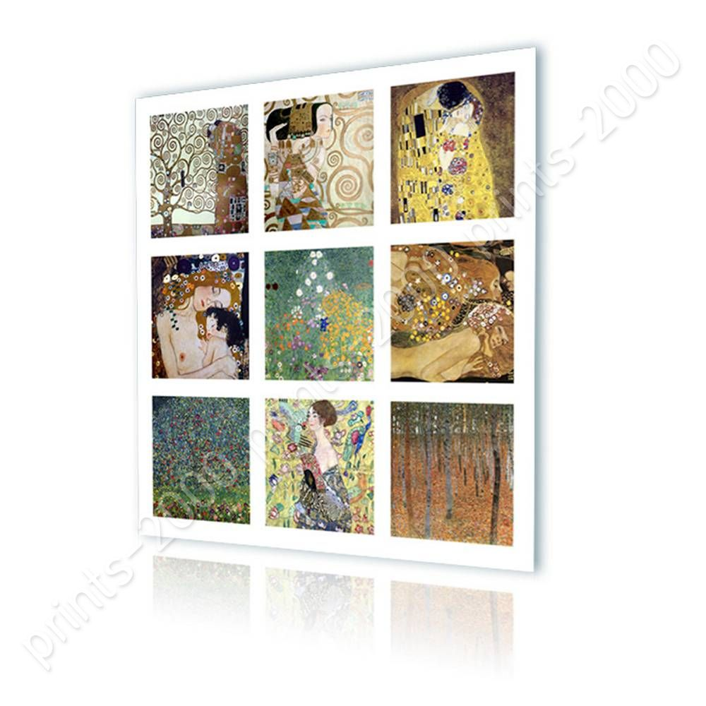 Collage 9 Kiss Lady Fan By Gustav Klimt Ready To Hang Canvas