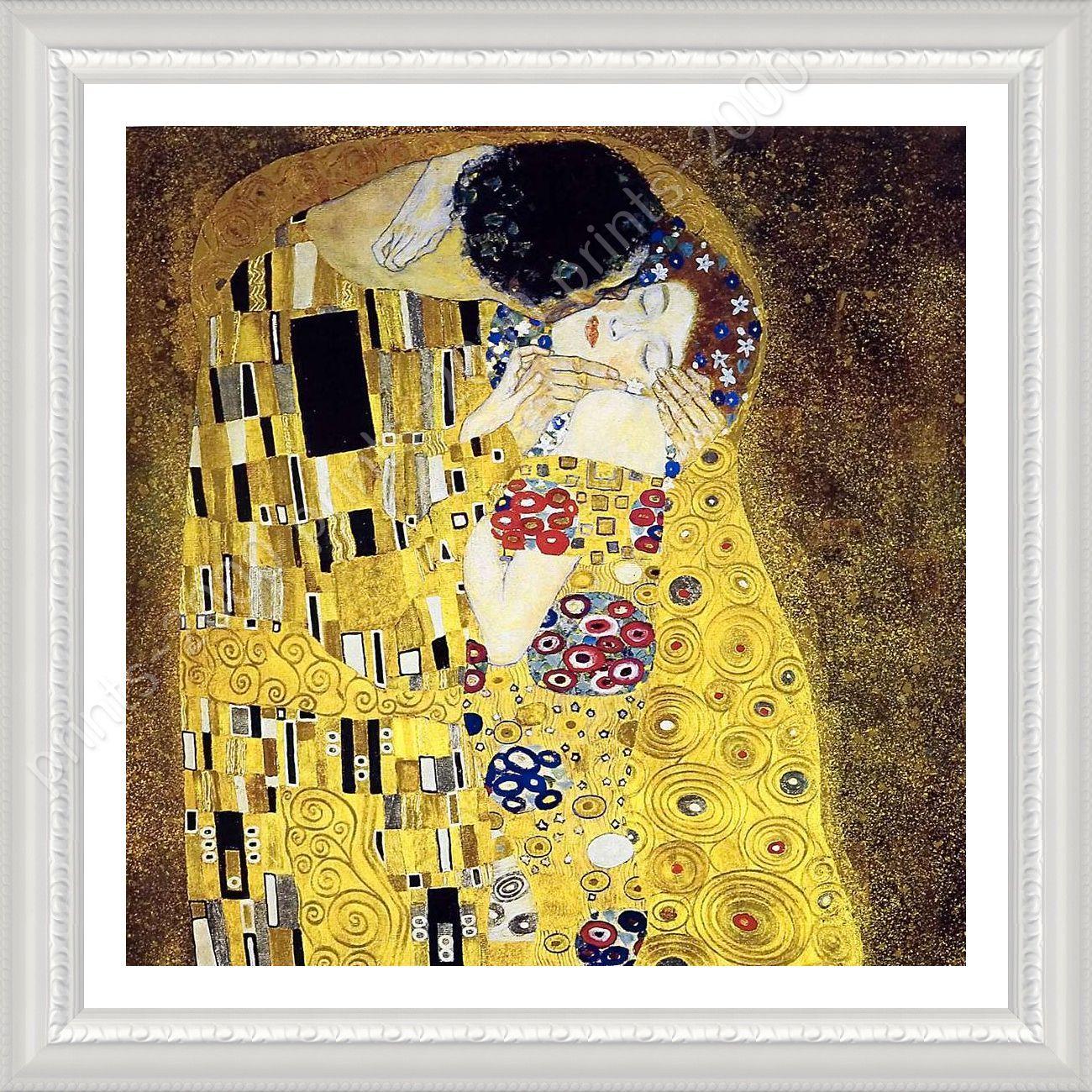 FRAMED Poster The Kiss Gustav Klimt For Home Decor Framed Wall Art ...