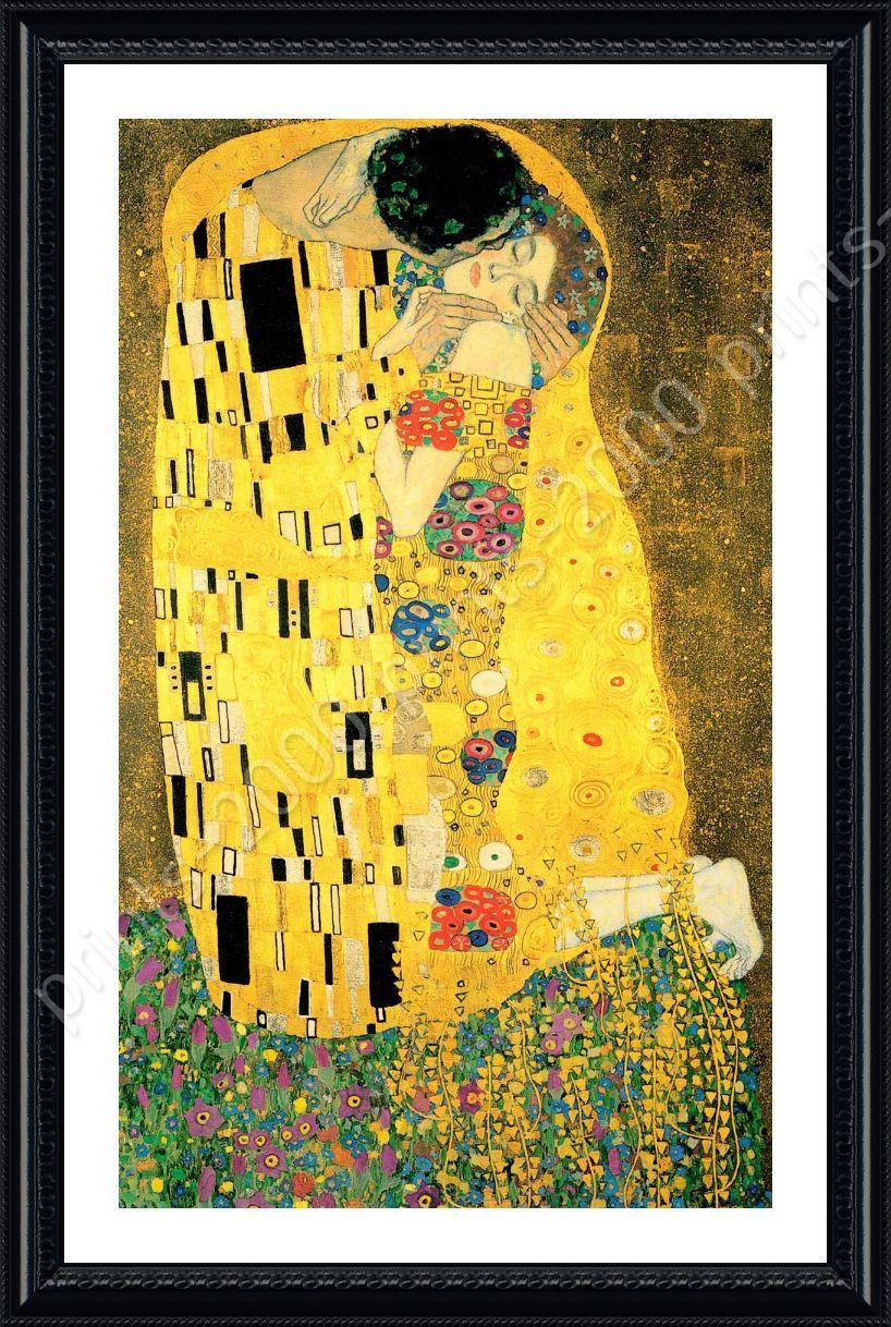 FRAMED Poster The Kiss Gustav Klimt Framed Print Giclee Framed ...