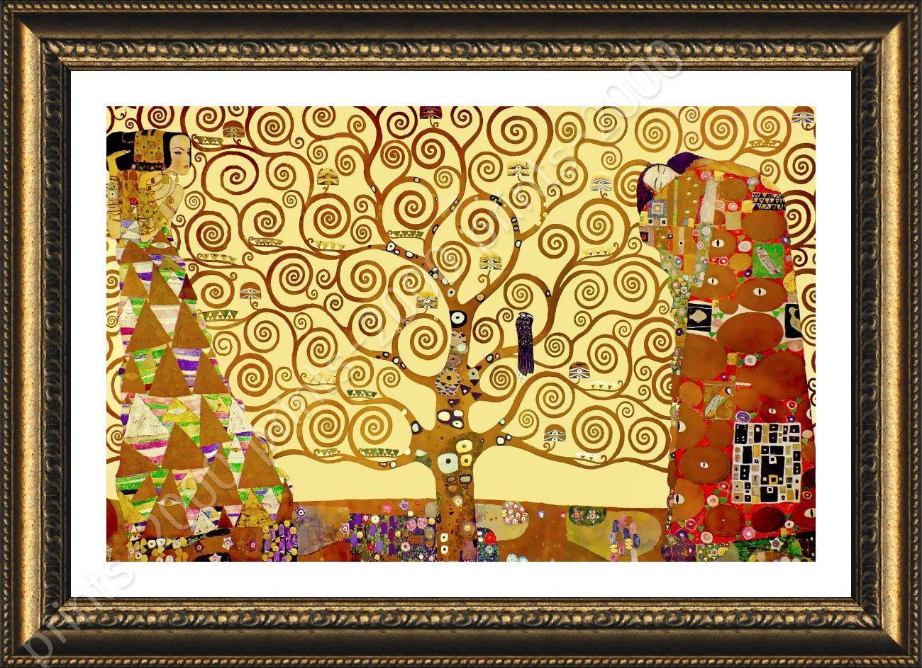 FRAMED Poster Tree Of Life Yellow Gustav Klimt Giclee Framed Decor ...