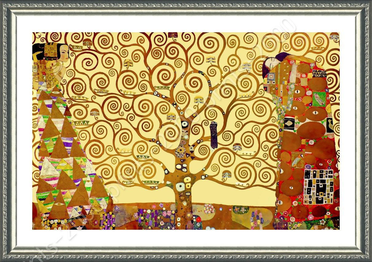 FRAMED Poster Tree Of Life Yellow Gustav Klimt Giclee Framed Decor ...