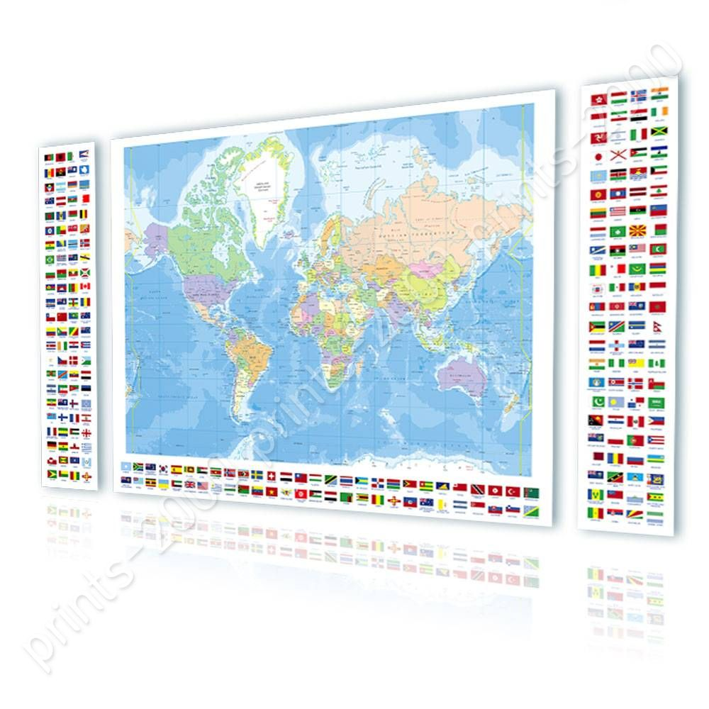 Calcomanas decorativas o pster vinilo mapa poltico mundo moderno poster or sticker decals vinyl political modern world map flags world map gumiabroncs Image collections
