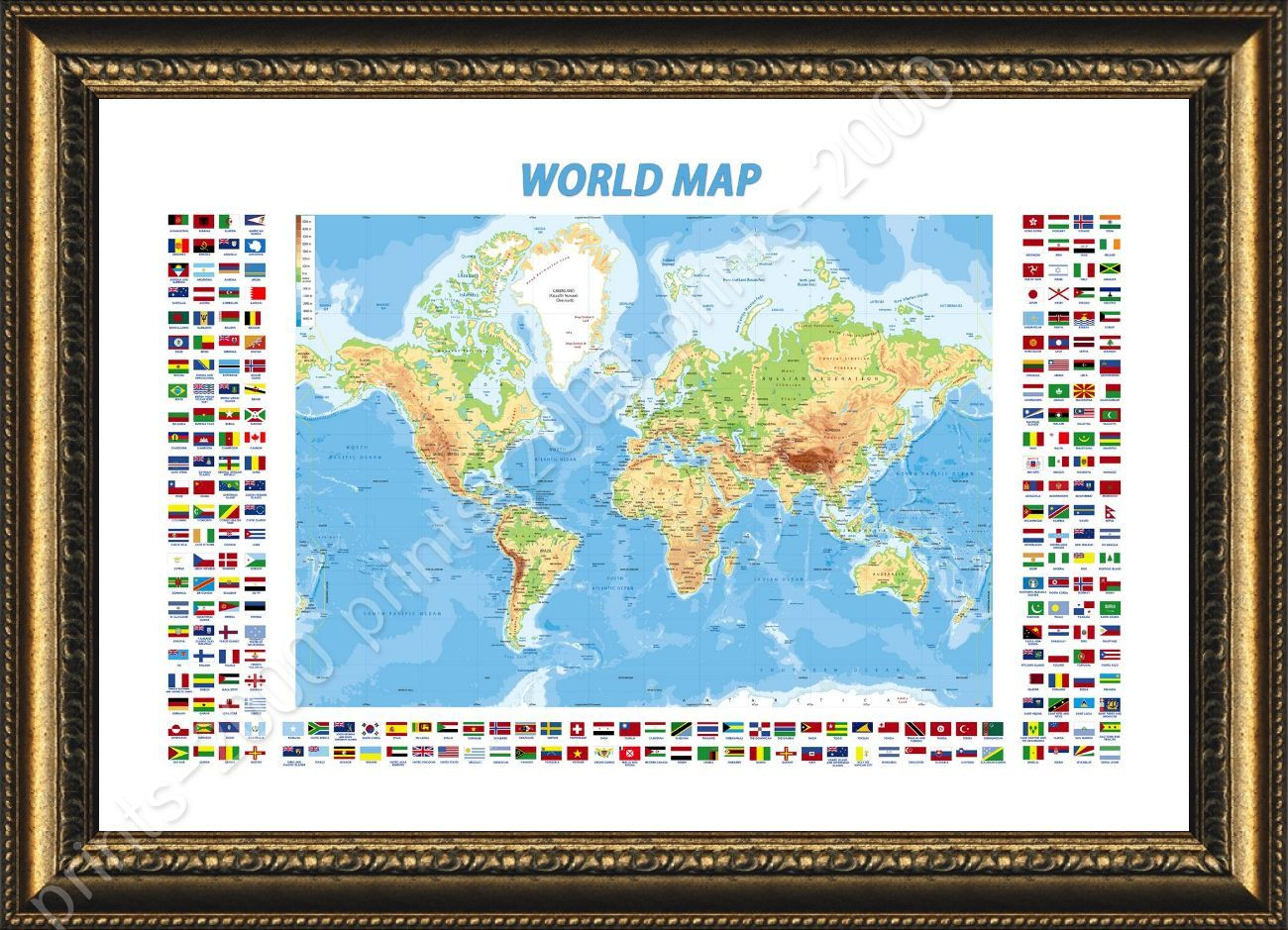 Framed poster physical modern flags world map oil painting print framed poster physical modern flags world map oil painting print giclee gumiabroncs Gallery