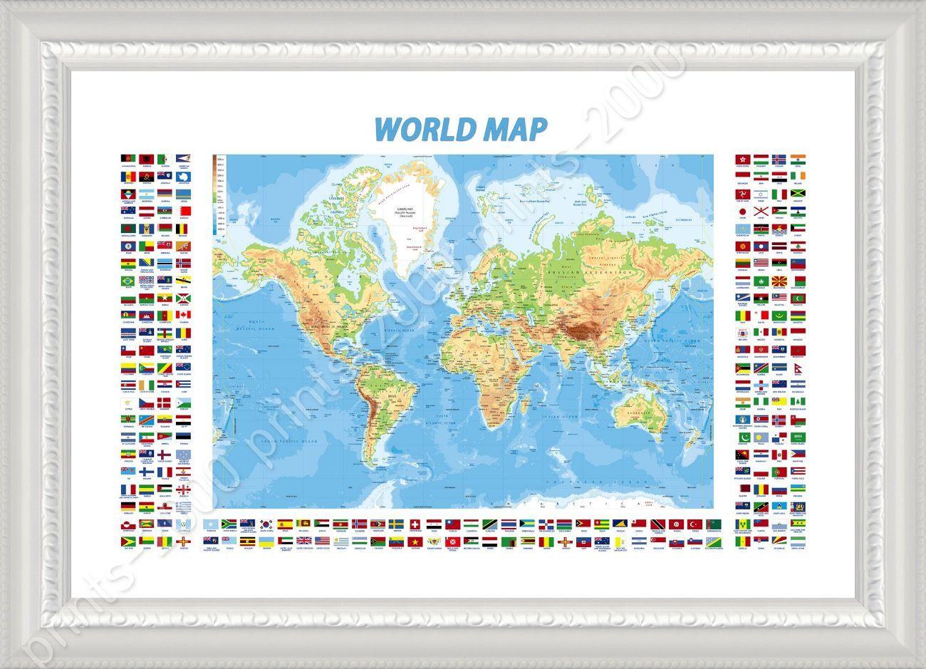Framed poster physical modern flags world map oil painting print framed poster physical modern flags world map oil gumiabroncs Images