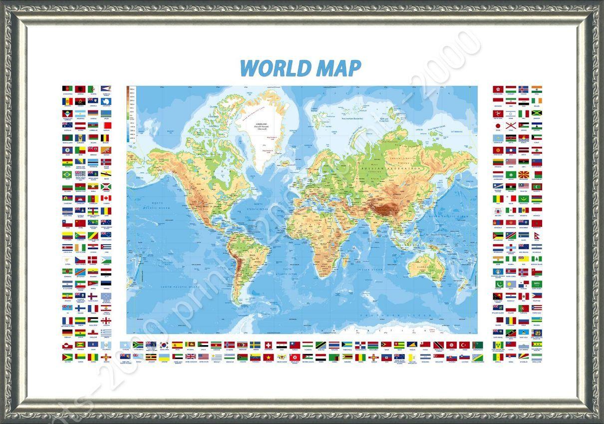 Framed poster physical modern flags world map oil painting print framed poster physical modern flags world map oil gumiabroncs Gallery