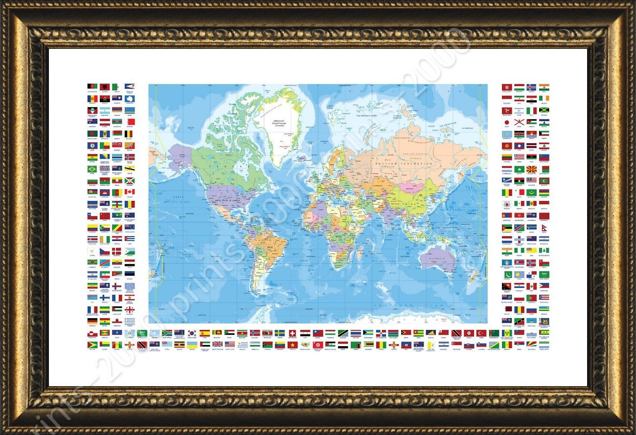 Political Modern Flags #1 By World Map | Framed Canvas | Poster Picture  Office