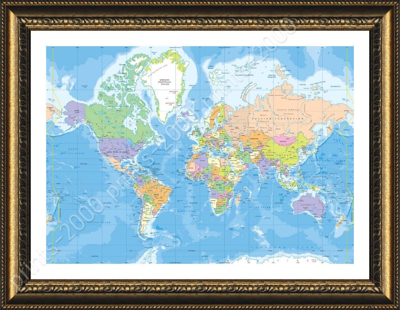 Political Modern by World Map | Framed canvas | Print Artwork For ...