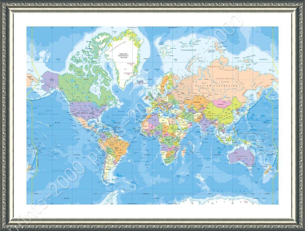 Framed poster political modern world map framed art for living room framed poster political modern world map framed art gumiabroncs Gallery