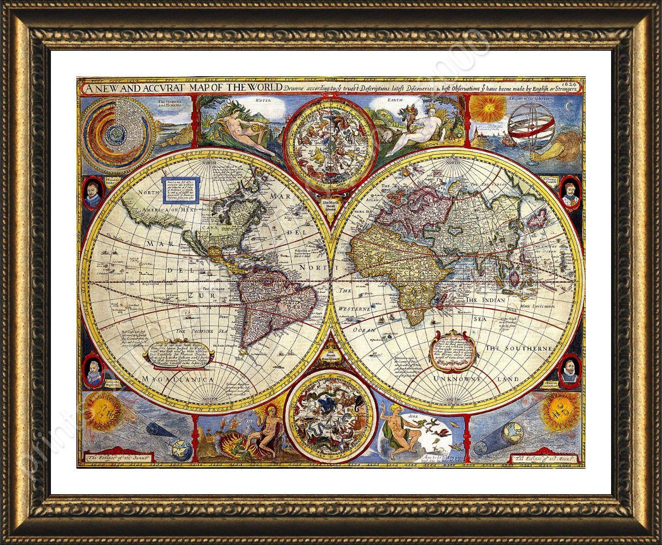 Framed poster antique old vintage v1 world map for bedroom framed framed poster antique old vintage v1 world map gumiabroncs Image collections