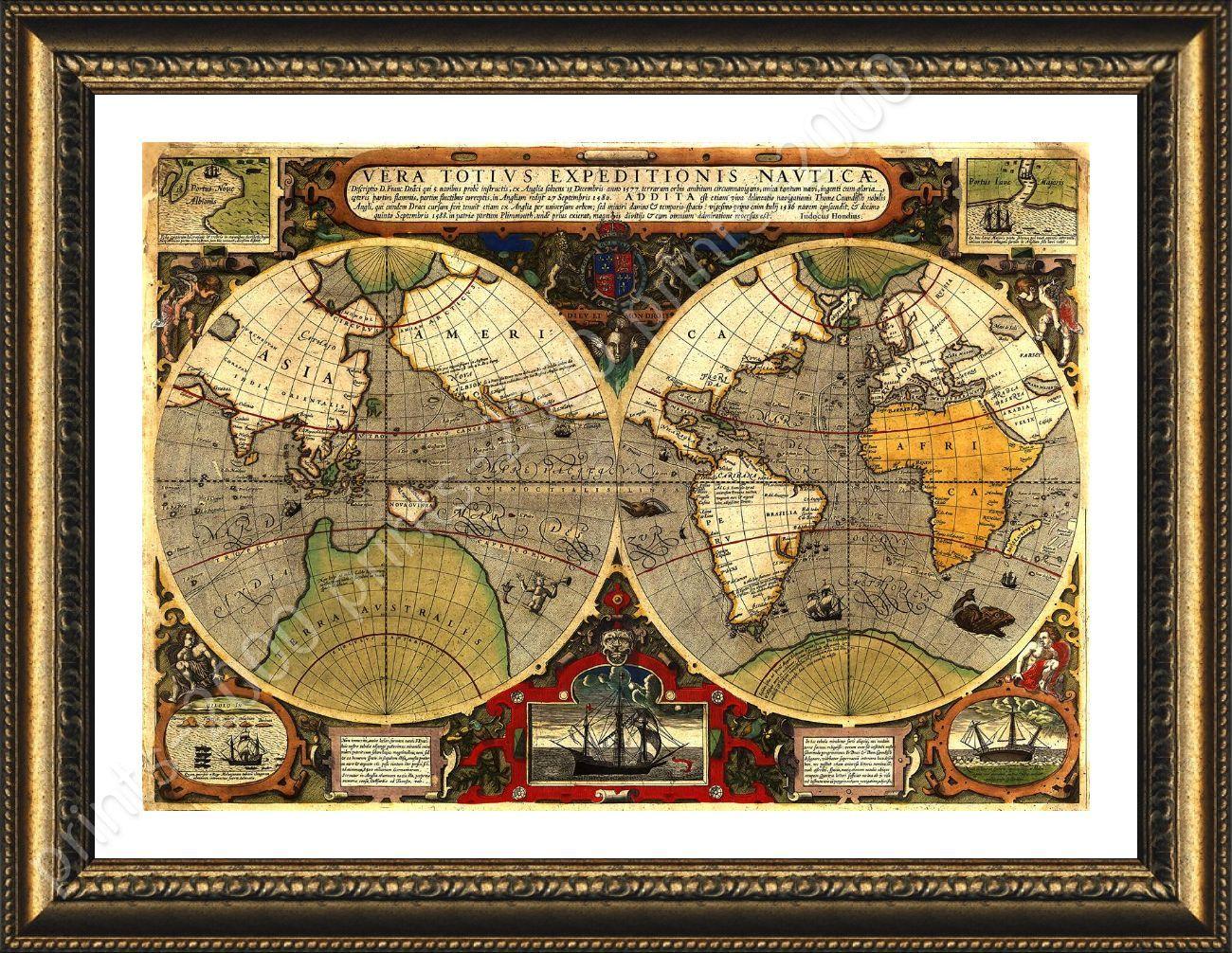 Framed poster antique old vintage v2 world map framed paints for framed poster antique old vintage v2 world map gumiabroncs Image collections