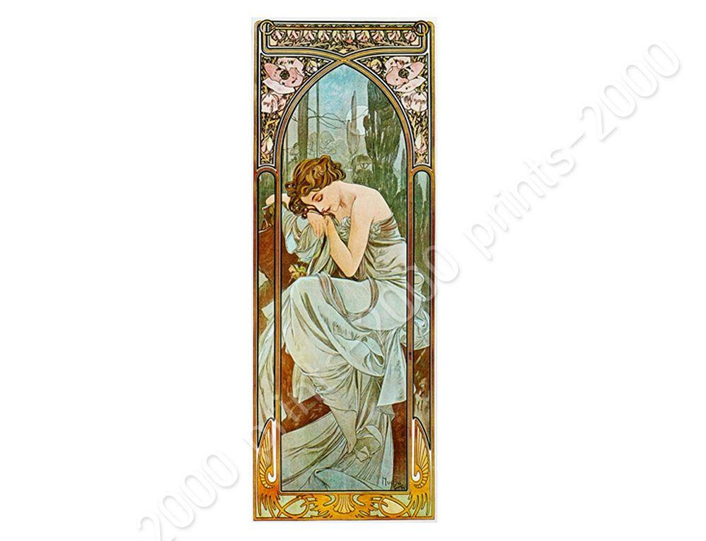 Repos-De-La-Nuit-by-Alphonse-Mucha-Poster-or-Wall-Sticker-Decal-Wall-art miniature 10