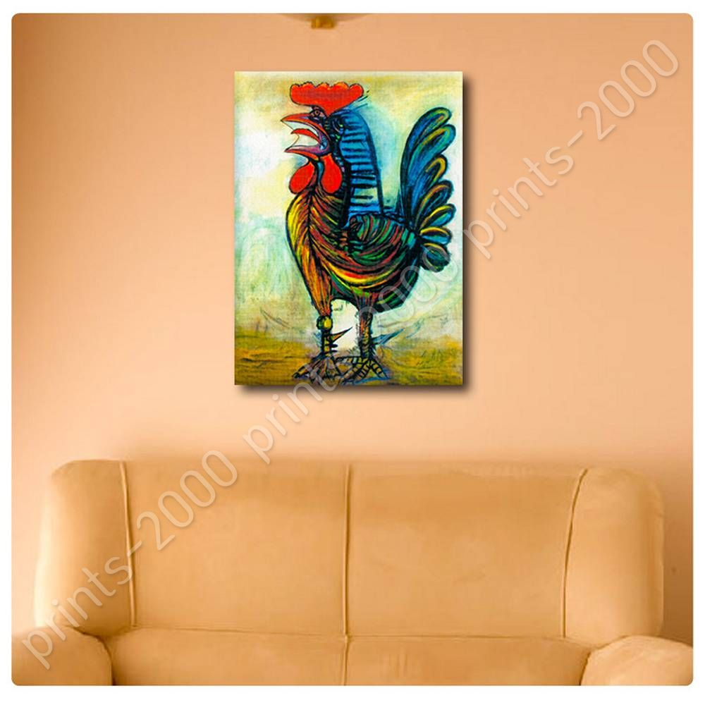 Poster or sticker decals vinyl the rooster pablo picasso for Custom vinyl mural prints
